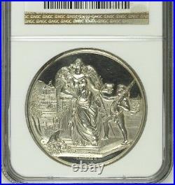 Rare Swiss 1882 Silver Shooting Medal Geneva R-619c M-321 NGC MS62