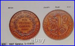Rare Swiss 1887 Bronze Shooting Medal Geneva R-631c Mintage-300 NGC MS64 Geneve