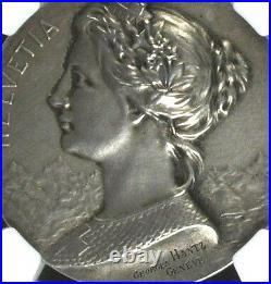 Rare Swiss 1900 Silver Shooting Medal France Paris R-2097b NGC MS62 Woman