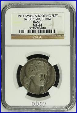 Rare Swiss 1911 Silver Medal Shooting Fest Basel Beautiful Woman R-133b NGC MS64