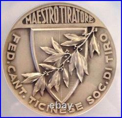Rare Swiss Silver Shooting Medal Ticino R-1523a Huber NGC MS65 Beautiful Woman