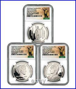 Royal Hawaiian Mint King Kalakaua I 3-Coin 1 oz Silver Medal NGC PF70 SKU56505