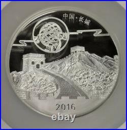 Scarce 2016 China 10 oz Silver Panda Moon Festival High Relief Medal NGC PF70