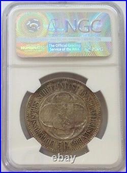 Swiss 1865 Shooting Taler 5 Francs Schaffhausen Helvetia R-1054b Medal NGC MS63
