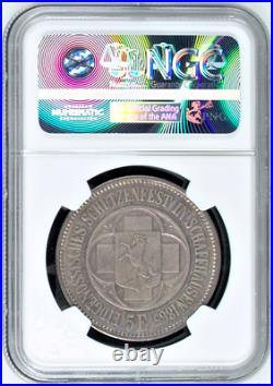 Swiss 1865 Shooting Taler 5 Francs Schaffhausen Helvetia R-1054b Medal NGC MS65