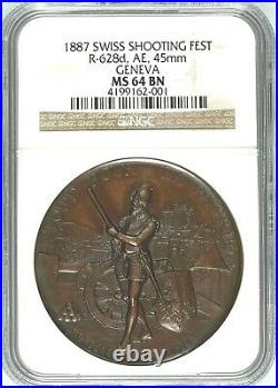 Swiss 1887 Bronze Shooting Medal Geneva R-628d Musketeer NGC MS64 Box