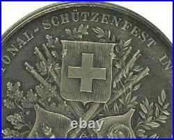 Swiss 1888 Silver Shooting Medal Bern Interlaken Murten NGC MS62 R-210a