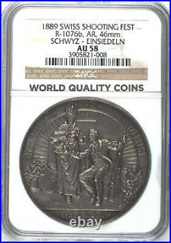 Swiss 1889 Silver Medal Shooting Fest Schwyz Einsiedeln R-1076b NGC AU58
