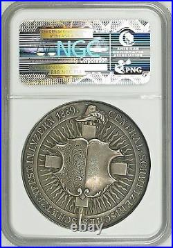 Swiss 1889 Silver Shooting Medal Luzern Switzerland R-867a NGC MS63 nice Patina