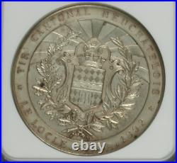 Swiss 1892 Silver Shooting Medal Neuchatel Le Locle NGC MS61 R-959b