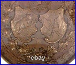 Swiss 1893 Bronze Shooting Medal Bern Biel NGC MS64 Mintage-250 R-225b