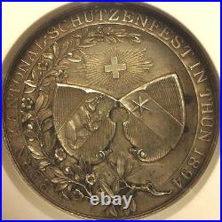 Swiss 1894 Silver Medal Shooting Fest Bern Thun R-228a NGC MS63 Low Mintage