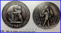 Swiss 1895 Silver Shooting Festival Medal St Gallen R-1168a Low Mintage NGC M62