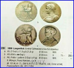 Swiss 1899 Silver Shooting Medal Bern Langenthal Beautiful Woman R-239b NGC MS63