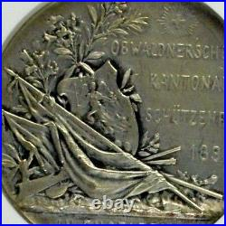 Swiss 1899 Silver Shooting Medal Obwalden Engelberg R-1045a NGC MS63 Rare