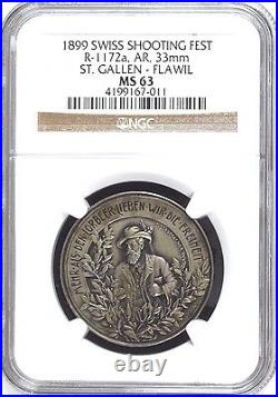 Swiss 1899 Silver Shooting Medal St Gallen Flawil R-1172a NGC MS63 Mintage-150