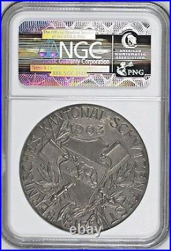 Swiss 1903 Silver Shooting Medal Bern Biel R-251a NGC MS64 Mintage-200