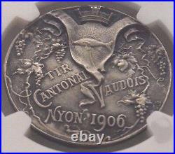 Swiss 1906 Shooting Medal Vaud Nyon R-1610a Beautiful Woman NGC MS63 Mintage-150