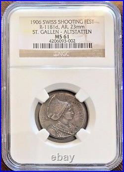 Swiss 1906 Silver Shooting Medal St Gallen Alstatten R-1181d Woman NGC MS61