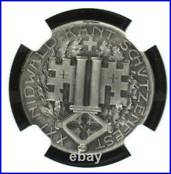 Swiss 1907 Shooting Medal Nidwalden Stans R-1032a NGC MS64 Archery Mintage-200