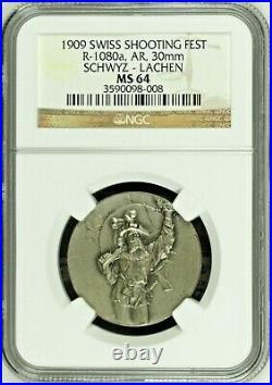 Swiss 1909 Silver Medal Shooting Fest Schwyz Lachen R-1080a NGC MS64 Rare