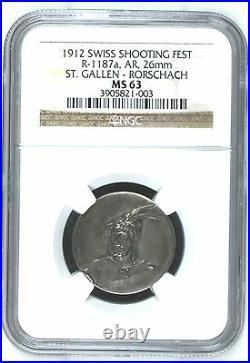Swiss 1912 Silver Medal Shooting Fest St Gallen Rorschach R-1187a NGC MS63 Rare
