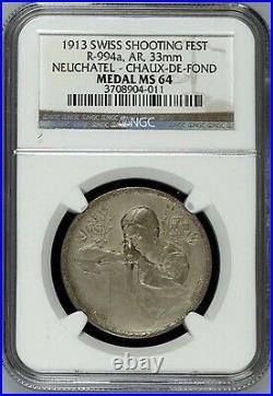 Swiss 1913 Silver Medal Shooting Fest Neuchatel Chaux de Fonds R-994a NGC MS64