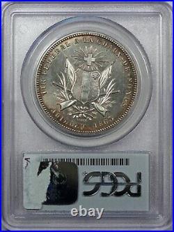 Swiss Medal 1863 Silver Shooting 5 Francs La Chaux Helvetia R-944a NGC MS62