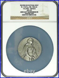 Swiss Silver Shooting Medal Ticino R-1523a A. Wiederkehr NGC MS65 Woman Rare