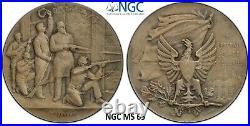 Switzerland Neuchatel 1898 NGC MS 65 Shooting Medal Silver Matte Swiss Unc