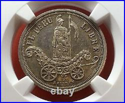 Uncirculatedsilver Medal Independence Proclamation 1863 Lima (perú) Ms61